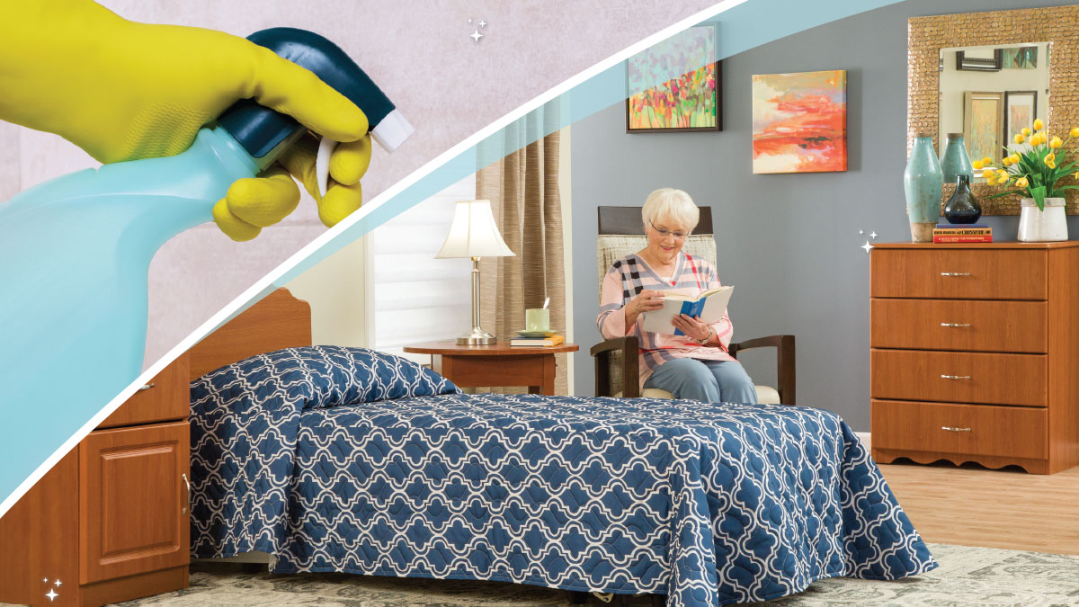 Gloved Hand With Spray Bottle | Elderly Woman Reading in Bedroom