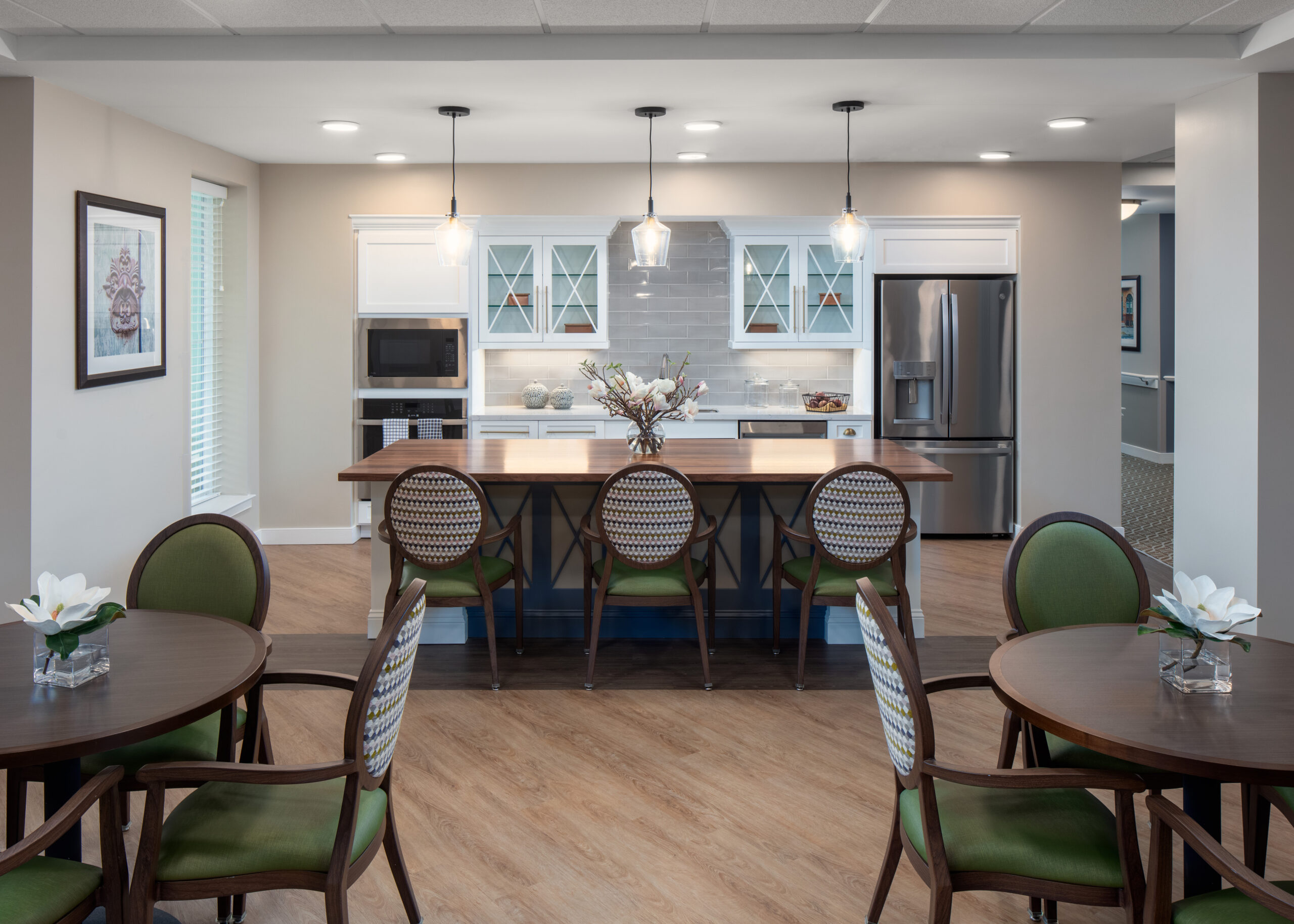 Delaney Dining, green chairs